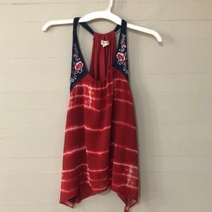 Living Doll Embroidered Tie-Dye Tank Top